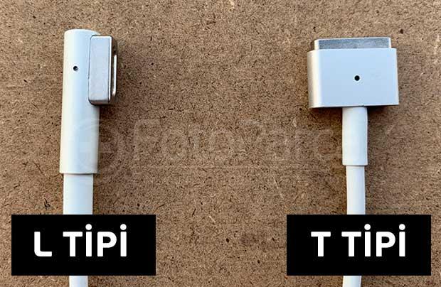 L ve T tipi macbook şarj kablosu konnektörü